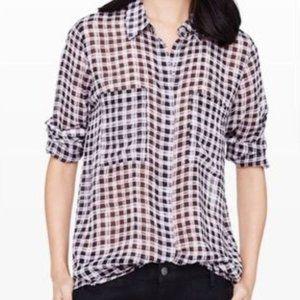 Club Monaco Sheer Silk Plaid Button Down Shirt